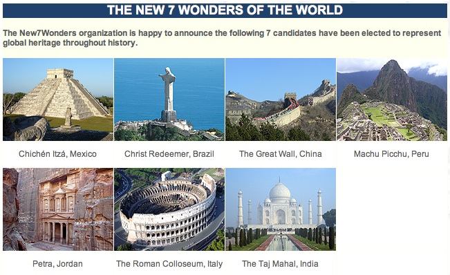 the new 7 wonders i m zero out of 7 in 7 7 07 our awesome planet