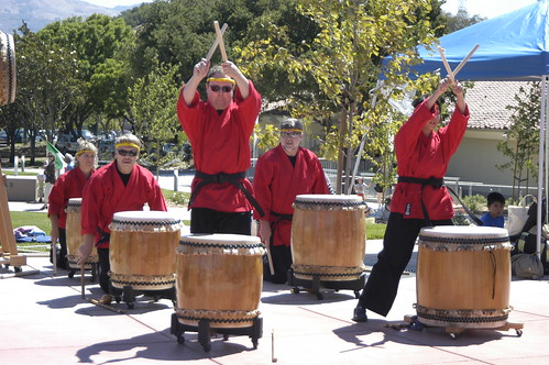 Sandoshin Taiko Drummers perform before the grand opening ceremony.