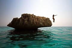 Emerald jump (LucaPicciau) Tags: sardegna sea girl rock jump mare sardinia horizon volo lp salto roccia emerald tuffo smeraldo lupi tuffi blueribbonwinner scoglio i golfodegliangeli