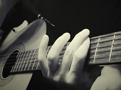 (crewelandunusual) Tags: blackandwhite music neck play secondchance guitar finger fingers strings flickrchallengegroup