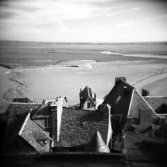 rooftops and tidal flats (donnievendetta) Tags: b white black france 120 film square holga fuji rooftops w flats donnie fujifilm medium format 100 mont vignette gn tidal vendetta acros saintmichel beauvoir