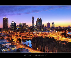 The Dawn of Perth Skyline, Western Australia :: HDR (Artie | Photography :: I'm a lazy boy :)) Tags: city morning skyline architecture modern photoshop canon buildings dawn lights landscapes skyscrapers tripod australia wideangle lookout perth kingspark ef 1740mm westernaustralia hdr artie cs3 3xp f4l photomatix cartrail tonemapping tonemap 5dmarkii 5dm2