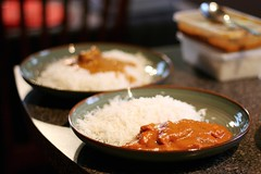 #351/365 - Friday Night Takeaways (Jaime Carter) Tags: newzealand food chicken dinner project 50mm 33 beef indian hamilton plate curry waikato 365 jaipur 2010 korma 351 butterchicken canon50mmf14 day351 takeaways project365 beefkorma jai