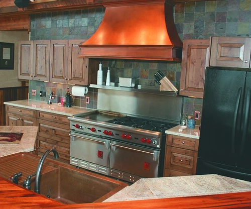 Copper range hood and apron sink