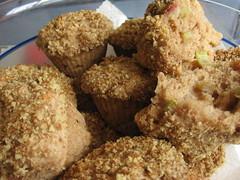 Rhubarb Muffins with Walnut Streusel