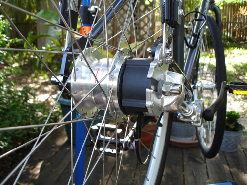 The back of the bike -- hub cover