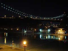 in the still of the night (Super Happy Eats) Tags: nyc newyorkcity bridge blue light reflection water glass pool skyline night dark queens astoria astoriapark triborobridge