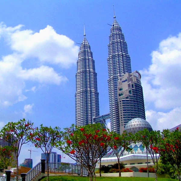 3 - Petronas Twin Towers in Kuala Lumpur, 452 m