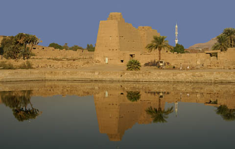 temples of karnak luxor egypt (lake reflection)