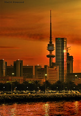 Evening on my town (khalid almasoud) Tags: city sunset reflection tower buildings evening town photo nikon photographer sundown down kuwait  liberation khalid 8800    vwc   almasoud mscamera anawesomeshot   kvwc kuwaitartphoto kuwaitvoluntaryworkcenter kuwaitvwc