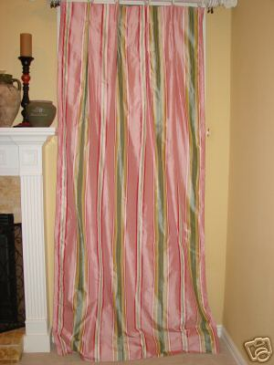 Pink Green Stripe Silk Drapery Panels Drapes Curtains