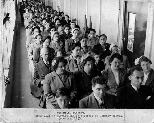 Congregation worshipping in corridor of Cranhill Primary School, December 1953