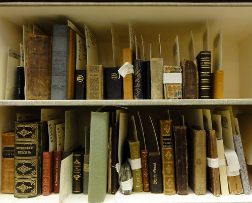 Two shelves of miniature books from the Dibner Library