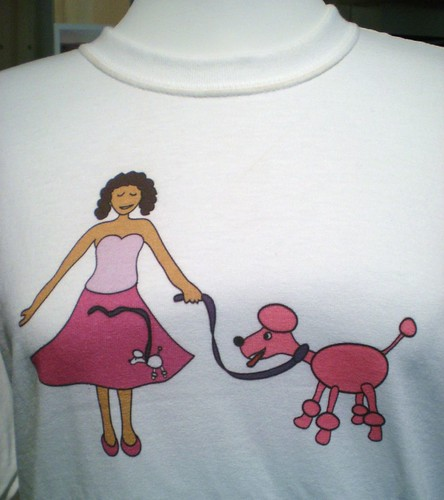 Poodle skirt t-shirt, ordered from Printfection test store