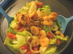 Mixed salad with shrimp for Supper - by Farruska