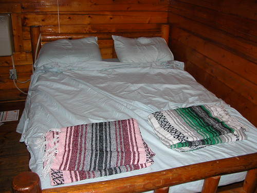 Our Stuckeys blankets homey up a KOA Kozy Kabin somewhere in Cajun Country.