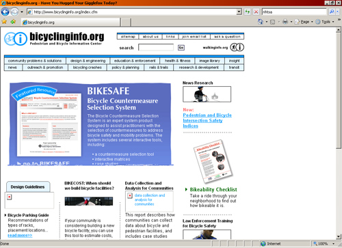 Bicycling Info's website