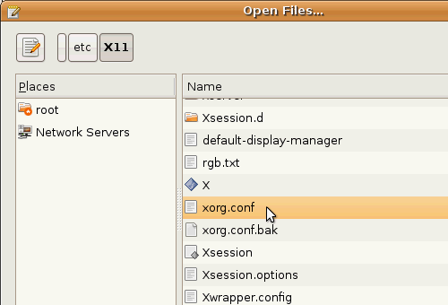 Fig. 7 - Ubuntu Guest Addition - apertura file xorg.conf