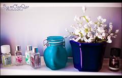 Scent of Peace .. (mOseQar) Tags: blue white flower art glass rose peace purple vase flowerpot liquids liquid scent artphoto kuwaitphoto kuwaitartphoto kuwaitart thebestpool