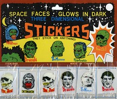 Awesome Monster Sticker Package (zoomar) Tags: monster dark skull sticker faces space dracula frankenstein stick they mummy package wolfman anything glows madeintaiwan theskull