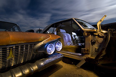 Benchseat Mandible (Lost America) Tags: lightpainting abandoned night plymouth fullmoon dodge belvedere junkyard dart 1961 startrails highway395 nocturnes pearsonville
