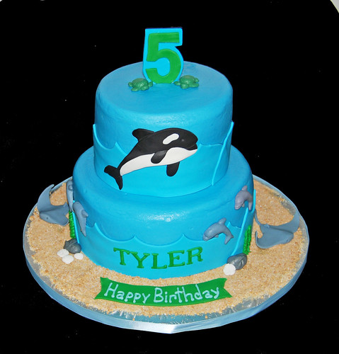 5th Brithday Ocean Themed Cake with a Killer Whale, Sting Rays and Dolphins
