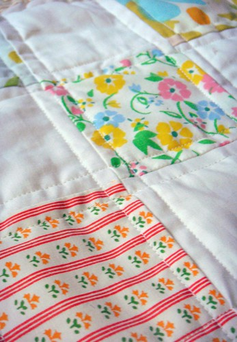 vintage fabric and linens quilt