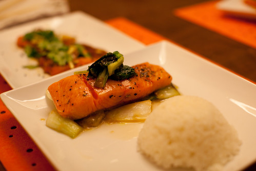 Sous Vide Salmon with Miso Bok Choy