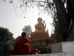 meditation in front of god buddha (jk10976) Tags: nepal urban asia god buddha explore meditation coolest swyambhunath firsttheearth diamondclassphotographer flickrdiamond jk10976 platinumheartaward kathmanduk jkjk976