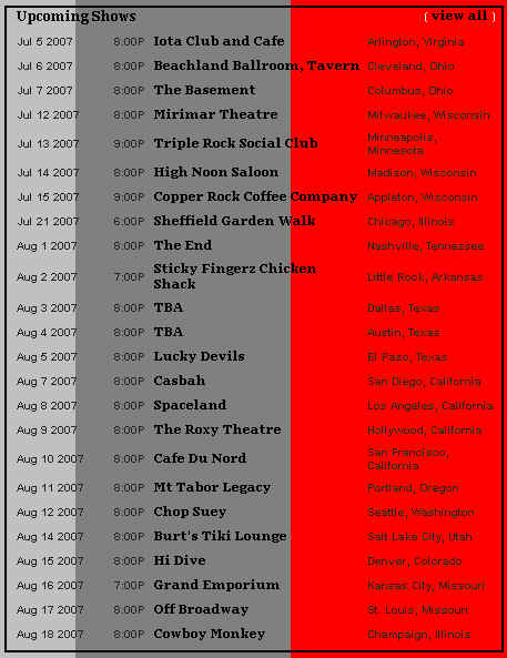 The Redwalls Summer 2007 Tour Schedule