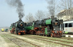 Lovech, Bulgaria--double-headed steam excursion, February, 2007 (Ivan S. Abrams) Tags: california arizona france newmexico santafe daylight blw colorado lima pennsylvania dr ivan maryland trains bulgaria sp westvirginia getty shay mikado abrams kazakhstan railways locomotives gettyimages as