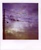 Traliccio maremmano (Sospensorio) Tags: sunset italy station clouds train polaroid sx70 violet stamp tuscany toscana stazione treno grosseto fili maremma traliccio timbro braccagni 600blend