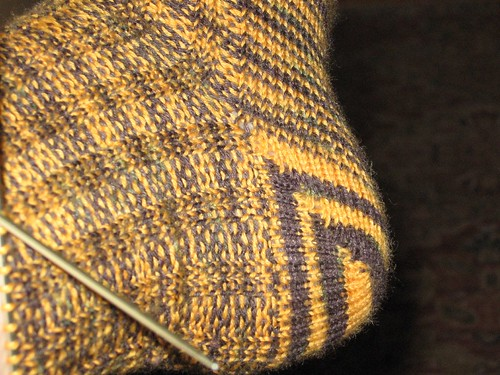 Steelers sock heel close up