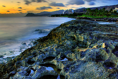 Thirty Seconds of Glow (harogi) Tags: longexposure iso100 hawaii rocks glow oahu august cropped tidepools f11 hdr 30seconds koolina 18mm crashingwaves aftersunset waianae movingclouds kapolei tonemapped singleraw harogi canonefs1855mm3556kitlens haroldgherradura waianaeridge leewardshores copyright2007haroldgherradura koolinalagoons ihilanimarriothotel img200708178978