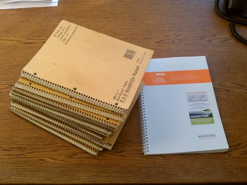 Stack 'O Notebooks from work. Latest edition will be Whitelines