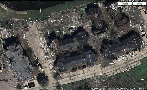 Aerial image of the abandoned apartment complex