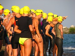Women await their time to go in the Lorain triathlon (ronnie44052) Tags: ohio swim lakeerie greatlakes swimmer swimmers triathlon lakeviewpark lorain