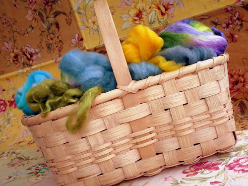 Handwoven Basket with Wool Fiber