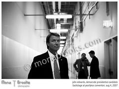 John Edwards (SFMONA) Tags: blackandwhite bw chicago politics photojournalism documentary presidential candidate tacoma backstage soe johnedwards halllway ykos aplusphoto yearlykosconvention excapture ykc07