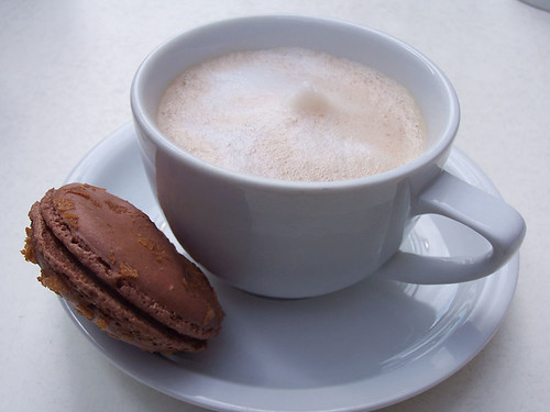 macaron and hot chocolate