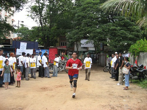 Karthik near the finish line
