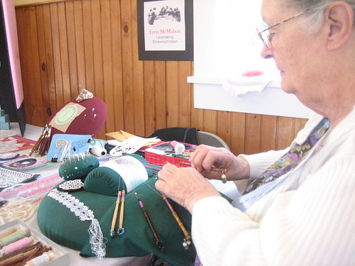 Lynn Showing us Bobbin Lace