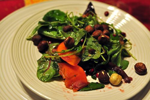Persimmon and hazelnut salad