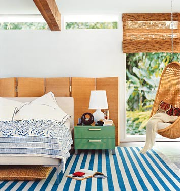 Beachy, modern bedroom: Stripes + wood + white