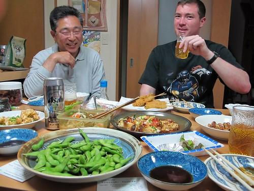 Leonard and Yoshida-san propose another toast