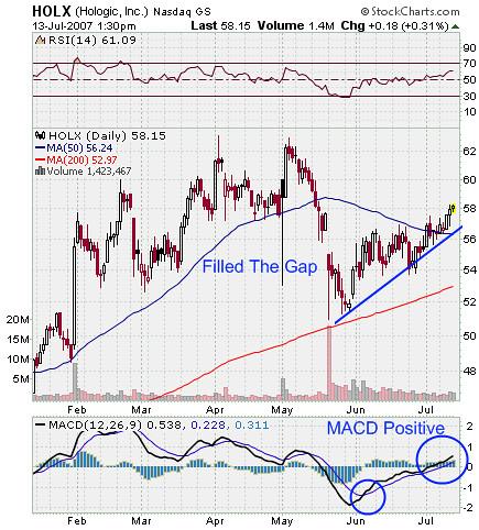 HOLX Stock Chart