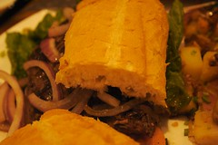 Closeup of Steak Sandwich