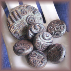 Polymer Clay Raku Swirl Beads (maureenthomasdesigns) Tags: beads polymerclay raku