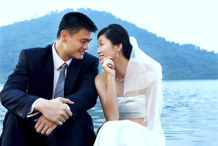 Yao Ming and Ye Li have their wedding photos taken a few days before their wedding ceremony on August 6th, 2007.