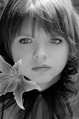 Vera (AlexEdg) Tags: portrait bw flower girl lily stargazer vera 2007 mydaughter alexedg alledges diamondclassphotographer megashot atqueartificia